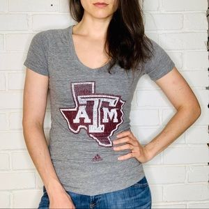 Adidas Texas A&M College Fan Gear V Neck Tee NWT